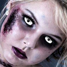 Kontaktlinsen White Zombie Sclera 6 Monate, Halloween Zombie Vampir